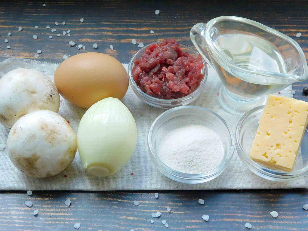 ингредиенты для зраз с грибами и сыром